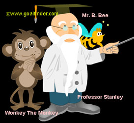 image of professor Stanley, Wonkey and B.Bee in the physics game